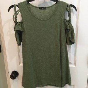 Green Short Sleeve Top With Lattice Sleeve